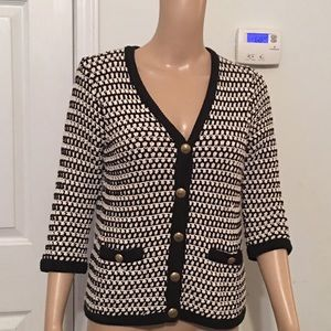 Cabi black and white striped cardigan 3/4 Sleeve M